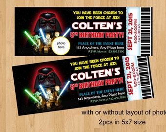 Star Wars Birthday Invitation, Digital (you print) With or Without Photo. Ticket Style