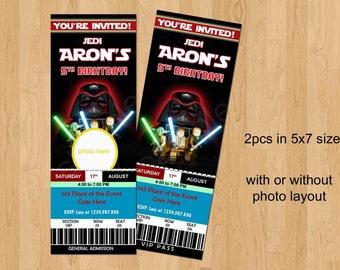 Stars Wars Birthday Invitation. Star Wars Invitation. Star Wars Ticket Style Invitation. Digital (you print)