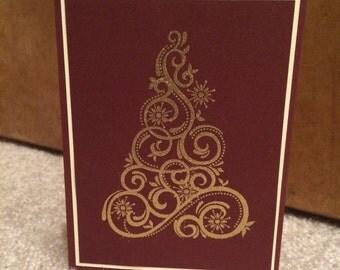 glitter embossed Christmas tree greeting card