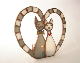 Stained glass candle holder Two cats Grey & white Tiffany Love Home decor Valentine's Day