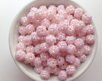 12mm Baby Pink Rhinestone Beads Set of 10, 20 or 50,  12mm Rhinestone Beads, Chunky Bubble Gum Beads, Gumball Beads, Acrylic Beads