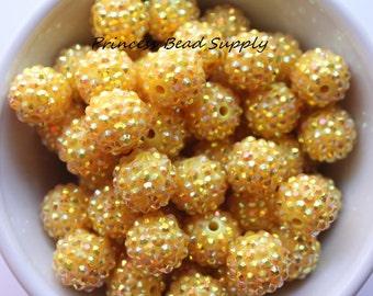 16mm Yellow AB Rhinestone Chunky Beads Set of 10,  Yellow Rhinestone Beads, Bubble Gum Beads, Gumball Beads, Acrylic Beads