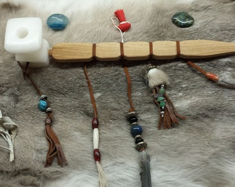 Mic-mac style Ceremonial White Alabaster pipe with long cherry stem and four directions carved.