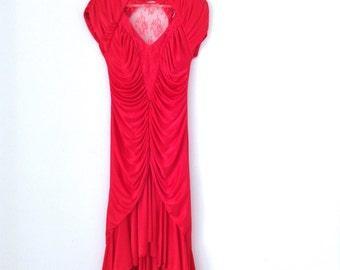 80s scarlet red dress. vtg showback evening gown