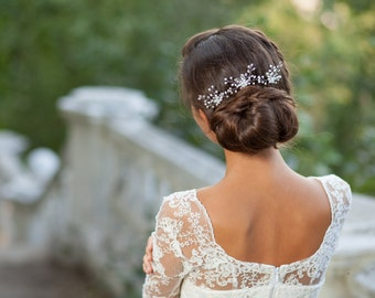 Wedding hair pins with pearls and rhinestones Bridal hair pins Floral hair pins Wedding headpice Bridal headpiece Silver bridal hairpins
