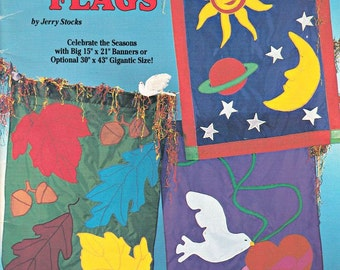 Big Banner Flags by Jerry Stocks, Flag Making Pattern, Flag Patterns, Flag Appliqué Patterns, Seasonal Flags, Home Garden Decor Patterns