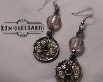 Japanese Coin Earrings wire wrap