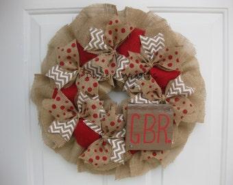 Nebraska Huskers GBR Burlap Wreath