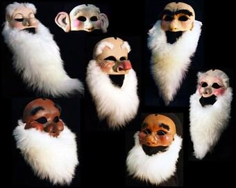 Seven dwarfs. Snow White 7 Dwarf Masks. Complete set of FULL SIZE Masks. Handmade. Costume mask seven dwarves. Choose adult or child size.