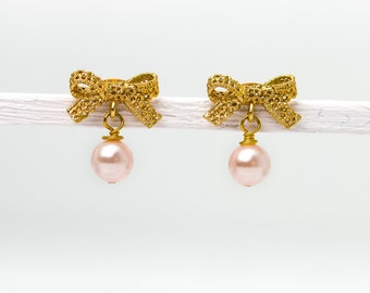 Lace Bow: Golden ribbon bow earrings with pink pearl, 16k gold, lacey ribbon, pearl jewelry, pearl earrings, gold plated ear studs