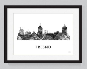 Fresno, California skylines WB BW