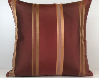 Burgundy, Copper Pillow, Throw Pillow Cover, Decorative Pillow Cover, Cushion Cover, Accent, Golden Tan Striped Pillow, Silk Blend Pillow