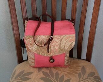messanger style handbag, cotton fabric, leather adjustable strap,
