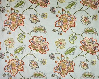 DESIGNER FLORAL VINES Embroidered Silk Fabric 10 Yards Spice