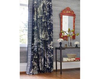 SCALAMANDRE CHINOISERIE PAGODA Palace Toile Linen Fabric 10 Yards Indigo Blue