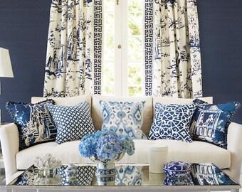 SCALAMANDRE CHINOISERIE PAGODA Palace Toile Linen Fabric 10 Yards Porcelain