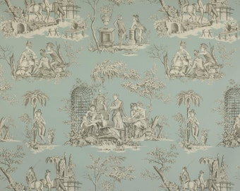 MANUEL CANOVAS BALLEROY French Toile Fabric 10 Yards Jade