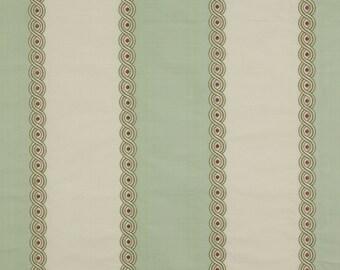 COLEFAX & FOWLER Cowtan BROCADE Stripe Embroidered Silk Fabric 10 Yards Green Cream Rose