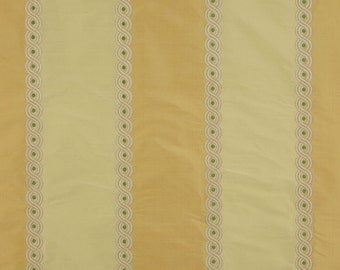 COLEFAX & FOWLER Cowtan BROCADE Stripe Embroidered Silk Fabric 10 Yards Yellow