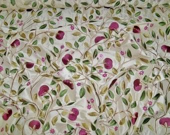 LEE JOFA KRAVET Floral Embroidered Silk Fabric 1 Yard Remnant Aubergine Plum Cream Green