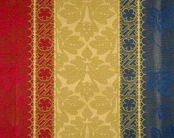 SCALAMANDRE COLONY VERONA Rigato Stripe Damask Fabric 5 Yards Red Blue Gold
