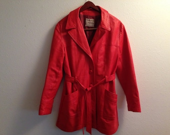 Vintage Red Leather Coat Woman's New England Sports Wear Company