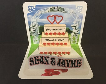 Wedding Popup Card with Cake, Roses & Hearts, personalized