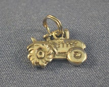 Old fashioned Farm tractor rhodium plated charm