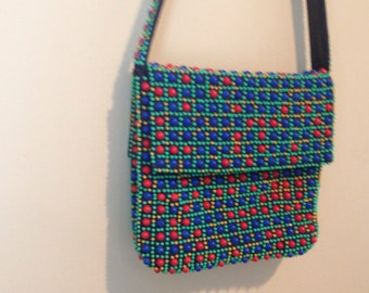 Cute 1960s vintage navy shoulder bag handbag purse with red yellow green blue micro beading beaded clutch