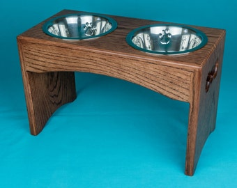 Elevated Dog Feeder, Two Stainless Steel 1 Quart Bowls, Solid Oak Wood