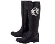 Personalized Monogrammed Black Riding Boots