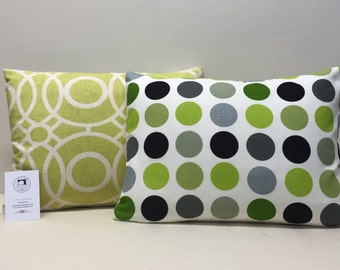 Lime swirl and spot cushion with feather cushion pad
