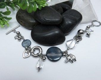 Bracelet charms Pearl blue mishmash, transparency and stainless steel