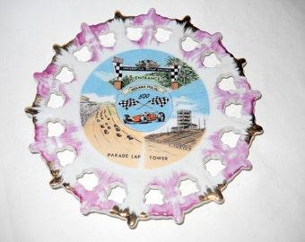 Vintage Indianapolis 500 Souvenir Plate, Motor Speedway, Parade Lap, Tower, Car Racing