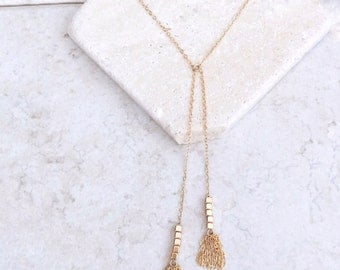 Y Tassel necklace, 14k gold filled, delicate necklace, gift for her, Tassel necklace, Unique necklace, gold fill necklace