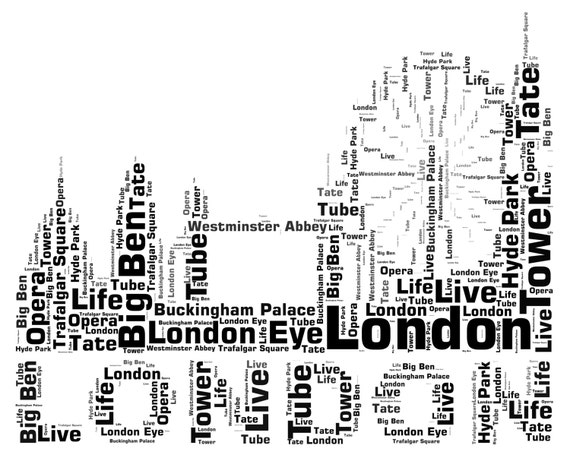 Personalised Word Art London City Skyline Design A4 Print