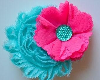 Aqua and Pink Hair Clip, Girls Pink Hair Clip, Toddler Girls Blue Hair Clip, Blue and Pink Clip, Wedding Clip