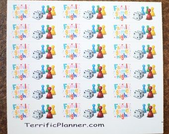 18 Family Game Night Stickers  Perfect for planners like Erin Condren, Plum Paper, Filofax, Limelife and more #028