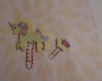 Unicorn + Crown Planner Clip, Paperclip, Book Mark, Handmade