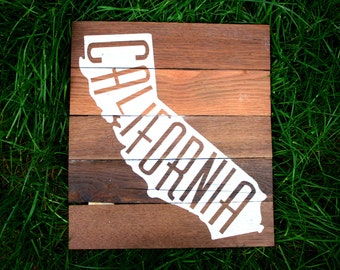 "Reclaimed Rustic Wood California Sign 10""x12""// Dorm Decor // College Decor // State Love //"