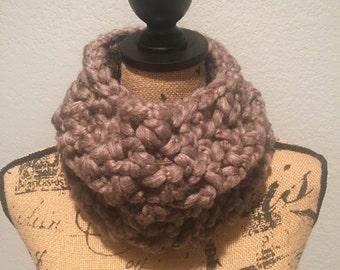 Crochet Chunky Brown Cowl Scarf, Handmade