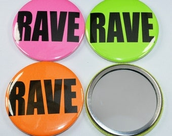 Rave pocket mirror - neon pocket mirror - Rave makeup mirror