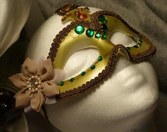 Bronzed Emeralds Masquerade Mask