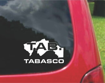 2 Pieces Tabasco Mexico Outline Map  Stickers Decals 20 Colors To Choose From.  U.S.A Free Shipping