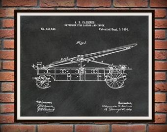 Patent 1895 Fire Extension Ladder and Truck #2 - Art Print - Poster - Fire House Art - Fire Fighter - Fire Rescue Art - Fire Truck Equipment