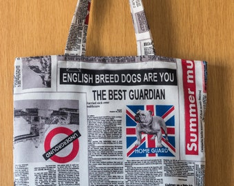 Newspaper Print Tote - British Themed