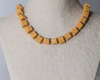 Volcanic Lava Cube Necklace - Mustard