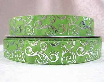 7/8 inch Silver Foil Vines Swirls on Lime Green Printed Grosgrain Ribbon for Hair Bow