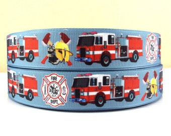 7/8 inch - Fire Truck - Firefighter - Fireman - Printed Grosgrain Ribbon for Hair Bow