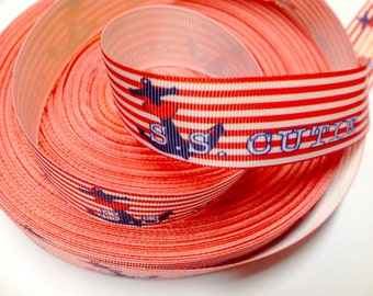 7/8 inch S.S. CUTIE - RED STRIPES - Nautical - Anchor   -  Printed Grosgrain Ribbon for Hairbow